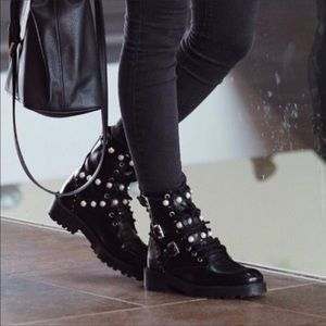 Zara Leather Lace Up Combat Boots with Pearls